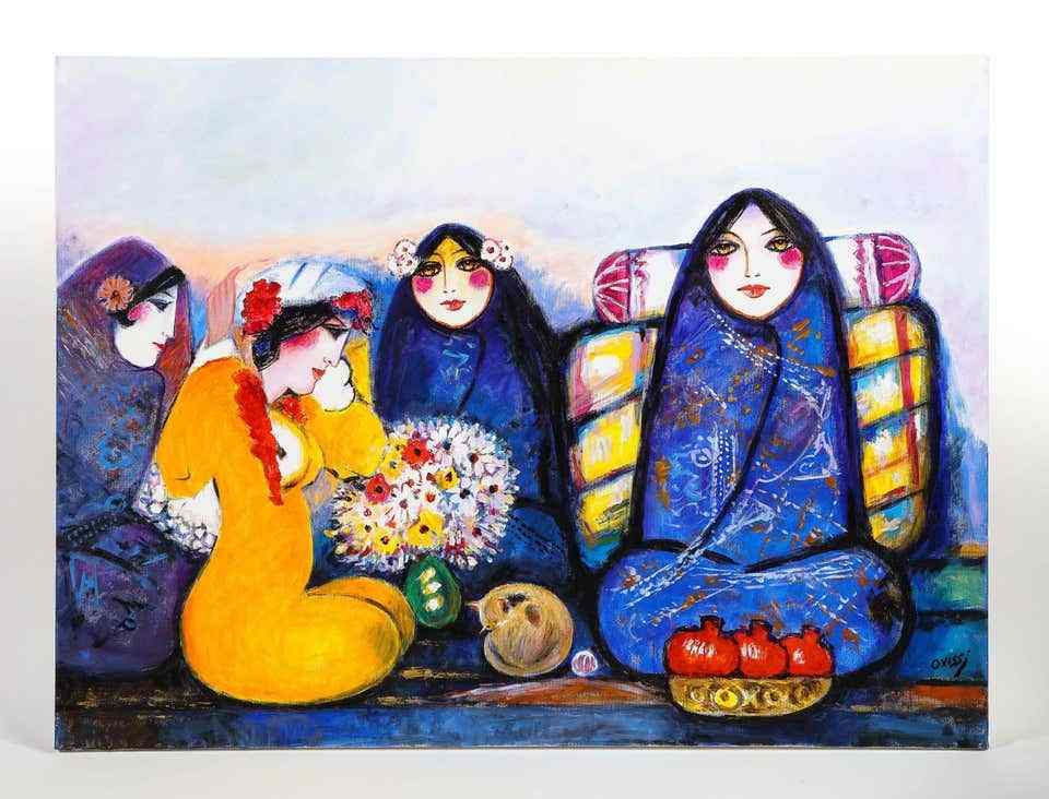 nasser-ovissi--iranian-born-1934--four-seated-girls-oil-809319-19463
