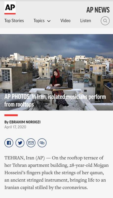 گزارش آسوشیتدپرس از اجراهای پشت بامی نوازندگان ایرانی در روزهای کرونا
